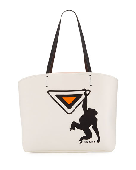 Prada Large Canapa Monkey Soft Tote Bag