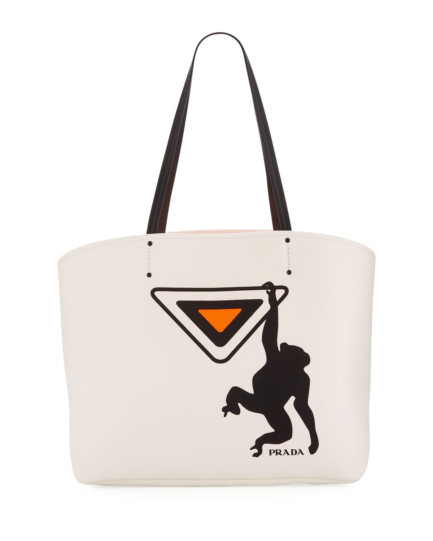 ac49873f2f66 Prada Large Canapa Monkey Soft Tote Bag | Neiman Marcus
