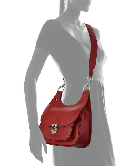 James Smooth Leather Saddle Shoulder Bag
