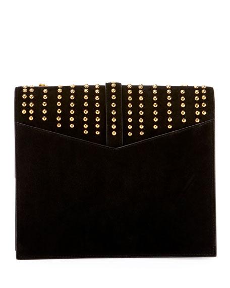 Sulpice Monogram YSL Triple-Flap Suede Crossbody Bag - Golden Hardware