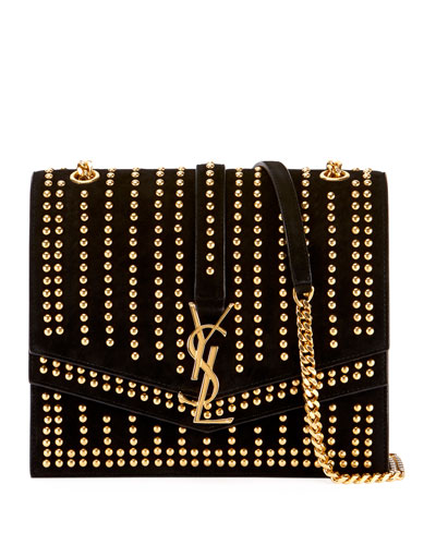 Sulpice Monogram YSL Triple-Flap Suede Crossbody Bag - Golden Hardware