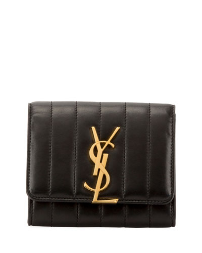 Vicky Quilted Leather French Flap Organizer Wallet