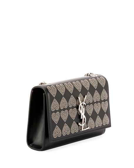 Kate Monogram YSL Small Heart-Studded Leather Crossbody Bag