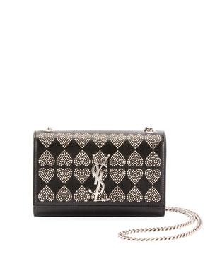 609fba8c0d4c Saint Laurent Kate Monogram YSL Small Heart-Studded Leather Crossbody Bag