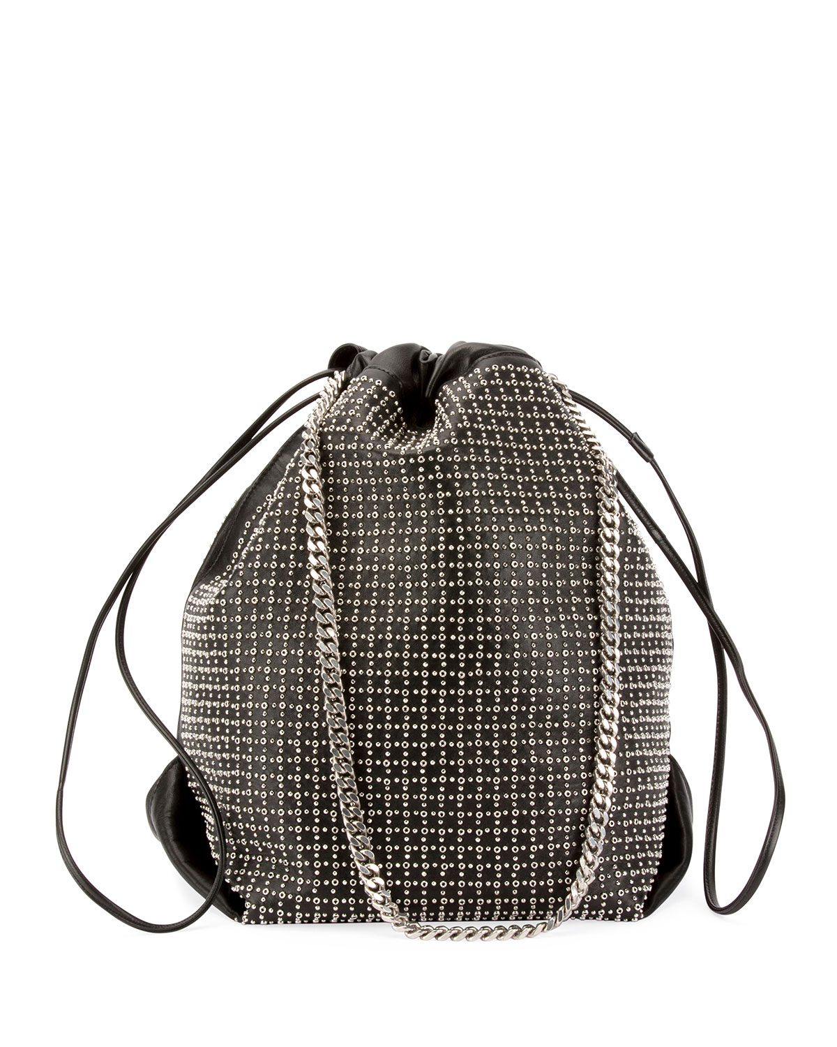 Saint Laurent Teddy Eyelet Studded Leather Drawstring Bucket Bag ... bb14a80c00f6b