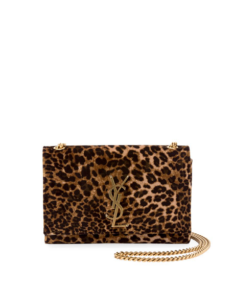 Saint Laurent Kate Monogram YSL Small Leopard-Print Velvet Crossbody Bag | Neiman Marcus