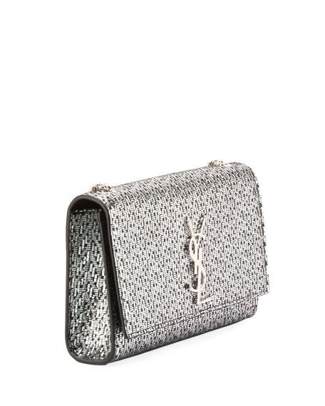 Kate Monogram YSL Small Metallic Chevron Fabric Crossbody Bag