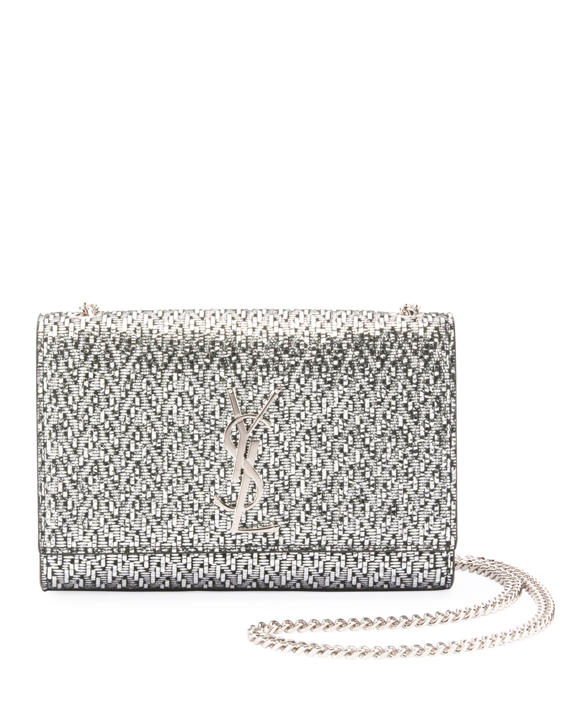 f6f54a2a161b Saint LaurentKate Monogram YSL Small Metallic Chevron Fabric Crossbody Bag