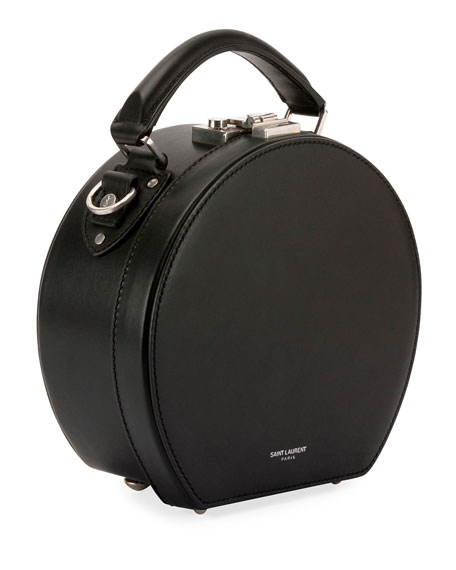 Mica Leather Top-Handle Hat Box Bag w/ Crossbody Strap