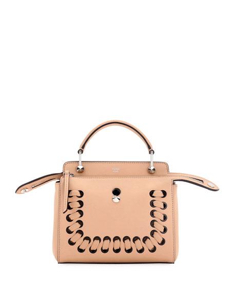 Fendi Dotcom Click Whipstitch Leather Shoulder Bag