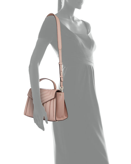 Whitney Medium Quilted Leather Satchel Bag - Rose Hardware