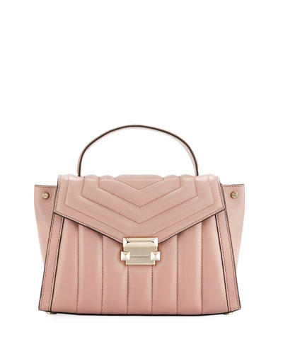 Whitney Medium Quilted Leather Satchel Bag - Rose Hardware