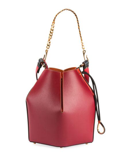 The Bucket Colorblock Shiny Calf Bucket Bag