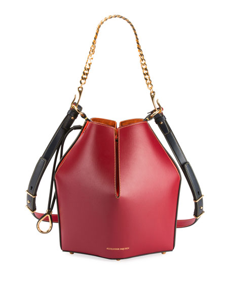 Alexander McQueen The Bucket Colorblock Shiny Calf Bucket