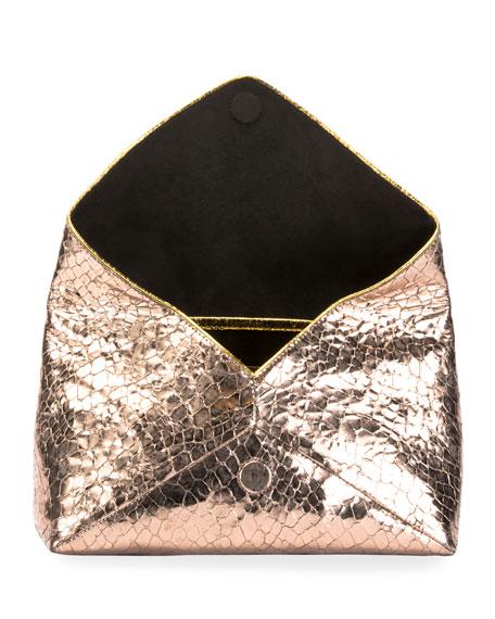 Metallic Embossed Leather Envelope Clutch Bag