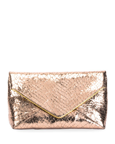 Metallic Embossed Leather Envelope Clutch Bag
