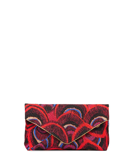 Geode-Print Fabric Envelope Clutch Bag