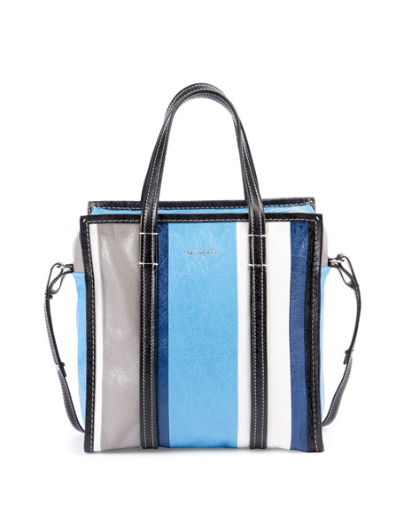 Bazar Small Striped Leather Shopper Tote Bag, Blue/Multi