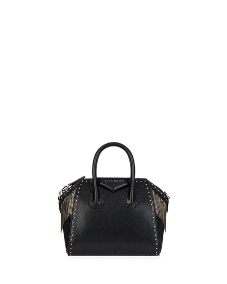 Antigona Chain Fringe Mini Satchel Bag in Black