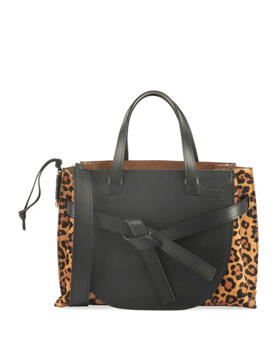 Leopard-Print Calf Hair Leather Tote Bag