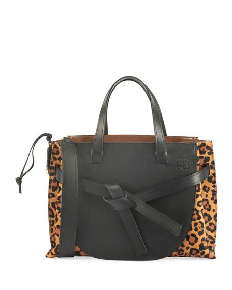Loewe Leopard-Print Calf Hair Leather Tote Bag