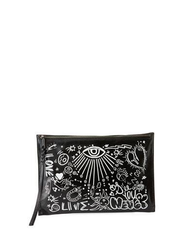 Graffiti Zip Clutch Bag