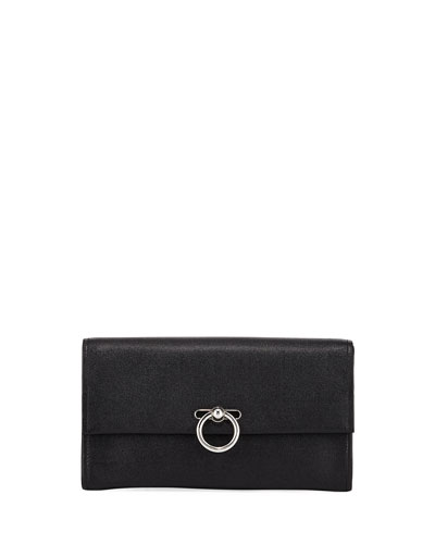 Jean Leather Clutch Bag - Silvertone Hardware