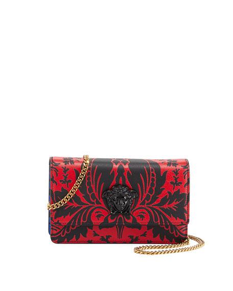 Vitello Stampa Floral Barocco Crossbody Bag, Red/Blue