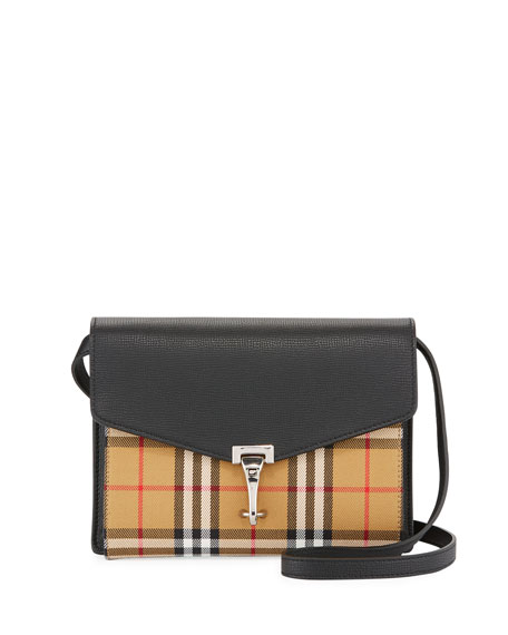 Burberry Macken Small Check Leather Shoulder Bag 063b5020e5738