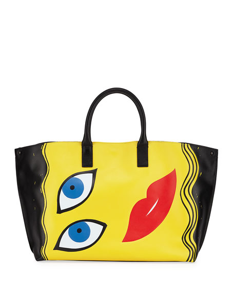 Akris Ai Medium 3D Portrait Top-Handle Tote Bag