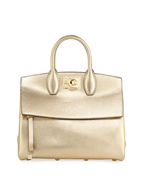 Studio Small Metallic Leather Satchel Bag in Gold