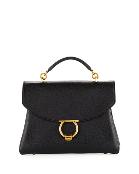 Salvatore Ferragamo Margot Medium Top Handle Bag, Nero