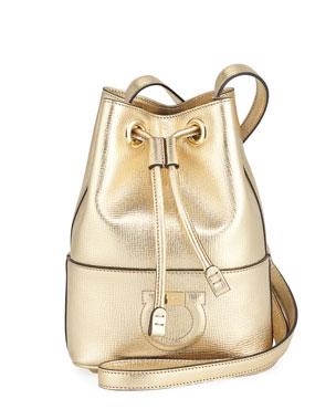 584897956c Salvatore Ferragamo Gancio City Metallic Leather Bucket Bag