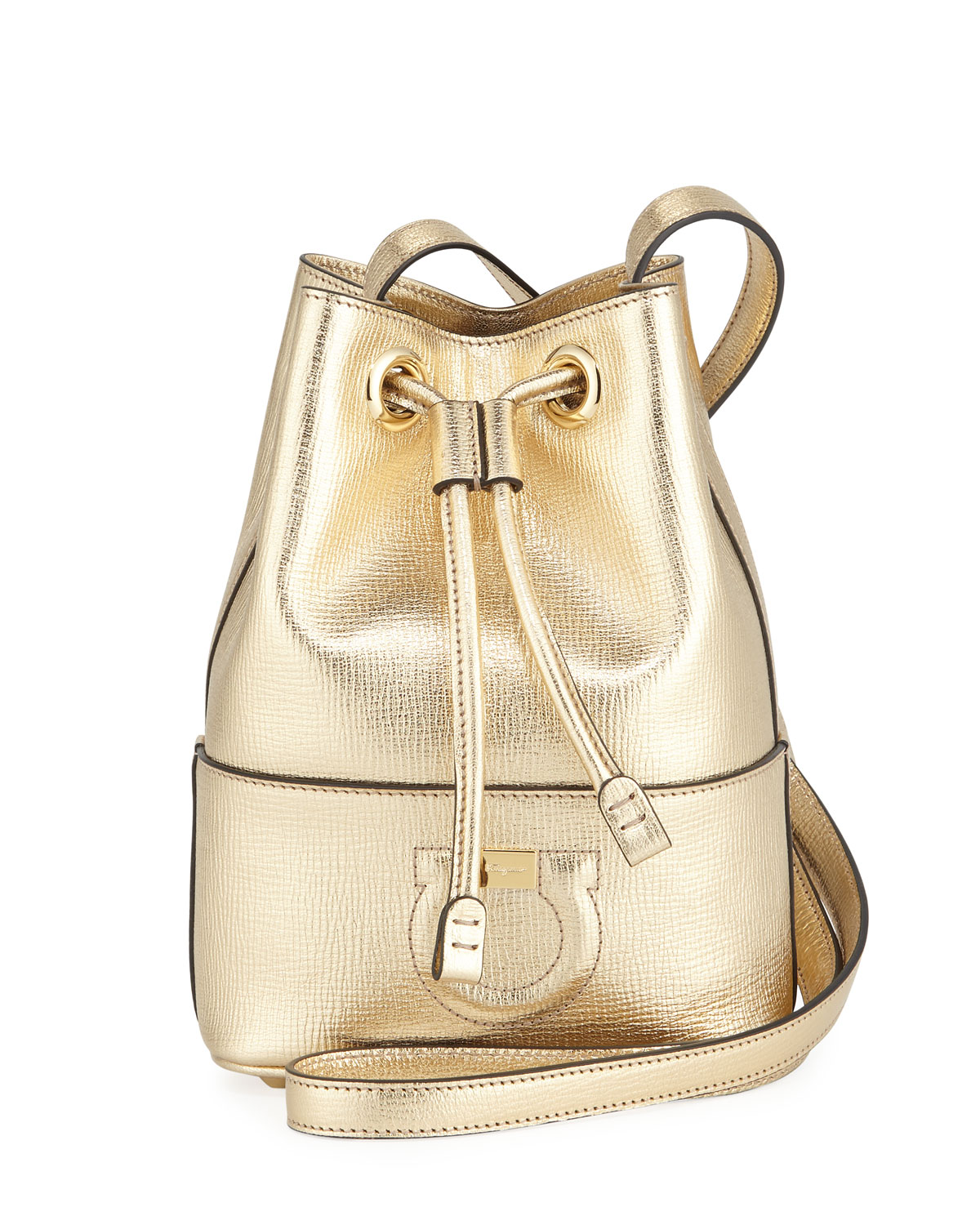 8a7b78d968 Salvatore Ferragamo Gancio City Metallic Leather Bucket Bag