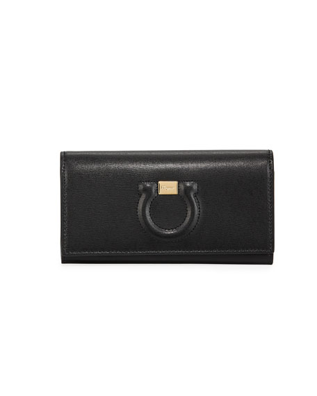 Salvatore Ferragamo Gancio City Wallet On Chain, Black