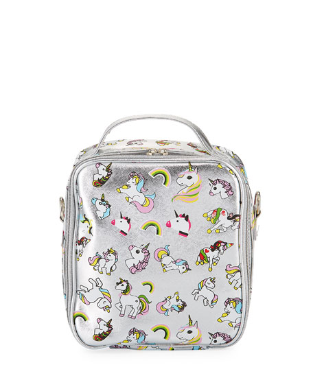 Bari Lynn Metallic Faux-Leather Unicorns Lunch Box
