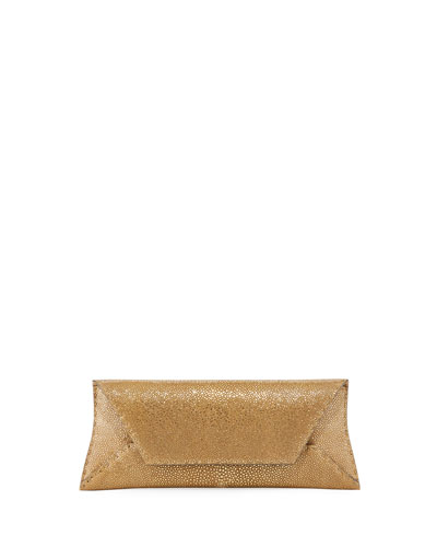 Manila Stretch Stingray Clutch Bag, Gold Leaf