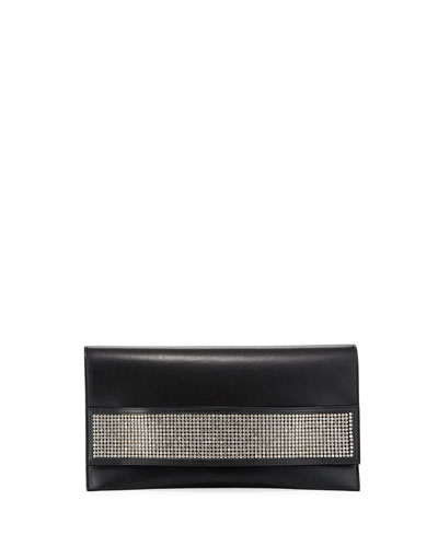 Passe Partout XL Leather and Crystal Clutch Bag