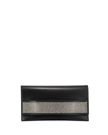 VBH Passe Partout Xl Leather And Crystal Clutch Bag in Black