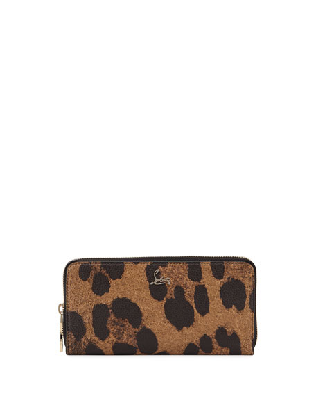 Christian Louboutin Panettone Leopard-Print Leather Zip Wallet