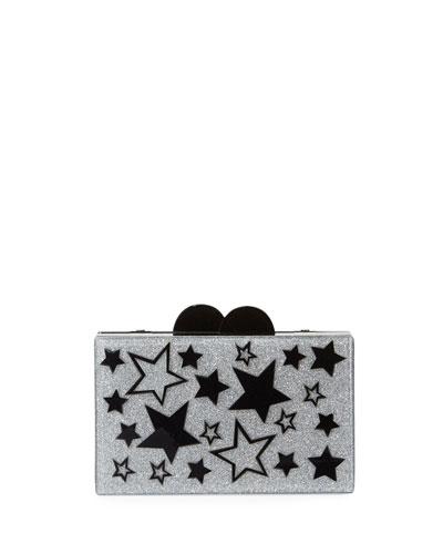 Girls' Stars Glittered Acrylic Box Clutch Bag