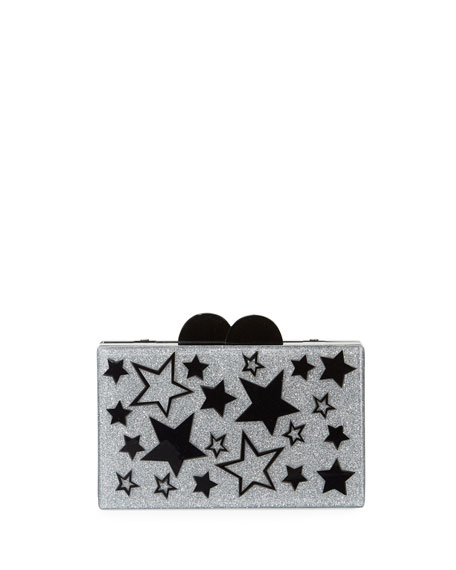 Bari Lynn GIRLS' STARS GLITTERED ACRYLIC BOX CLUTCH BAG