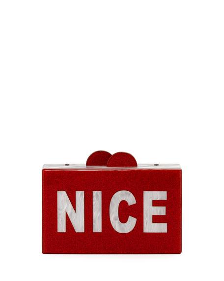 Bari Lynn GIRLS' NAUGHTY/NICE GLITTERED ACRYLIC BOX CLUTCH BAG