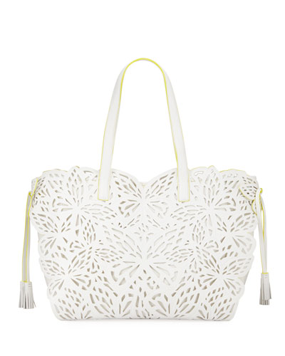 Liara Canvas Laser-Cut Leather Butterfly Tote Bag