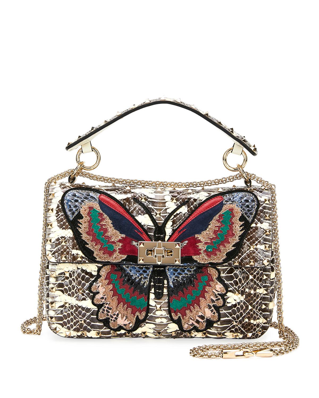 82f22cd8d2 Valentino Garavani Spike.It Medium Butterfly Snakeskin Shoulder Bag ...