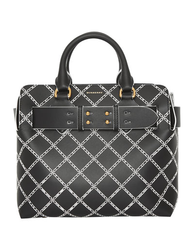 Small Belted Perforated Satchel Bag