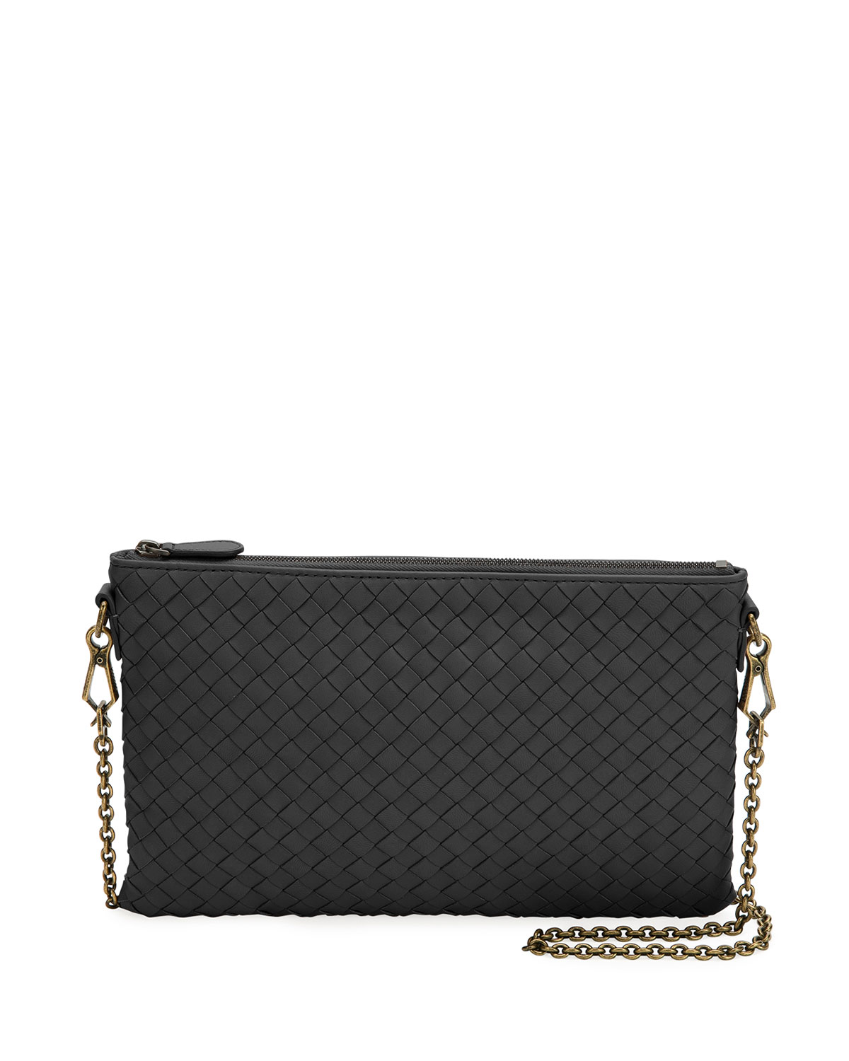 f9fcd6dfd036 Bottega Veneta Biletto Woven Leather Zip-Top Pouch Crossbody Bag ...