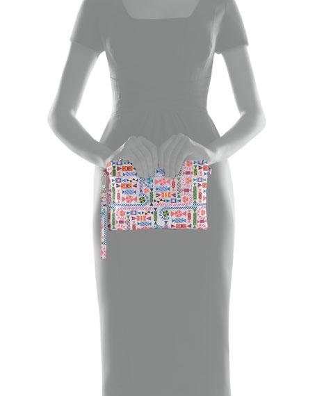 Girls' Shimmer Candy-Print Clutch Bag w/ Crystal Candy Key Chains