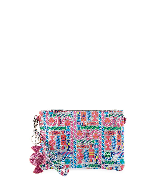 546e306a11 Bari LynnGirls  Shimmer Candy-Print Clutch Bag w  Crystal Candy Key Chains