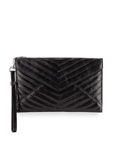 Leo Quilted Leather Envelope Wristlet Pouch Bag